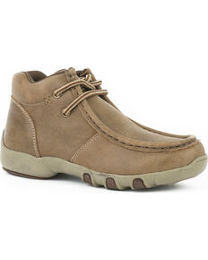 Roper Boys' Tan Vintage Leather Chukka Driving Mocs - Moc Toe, Tan, hi-res