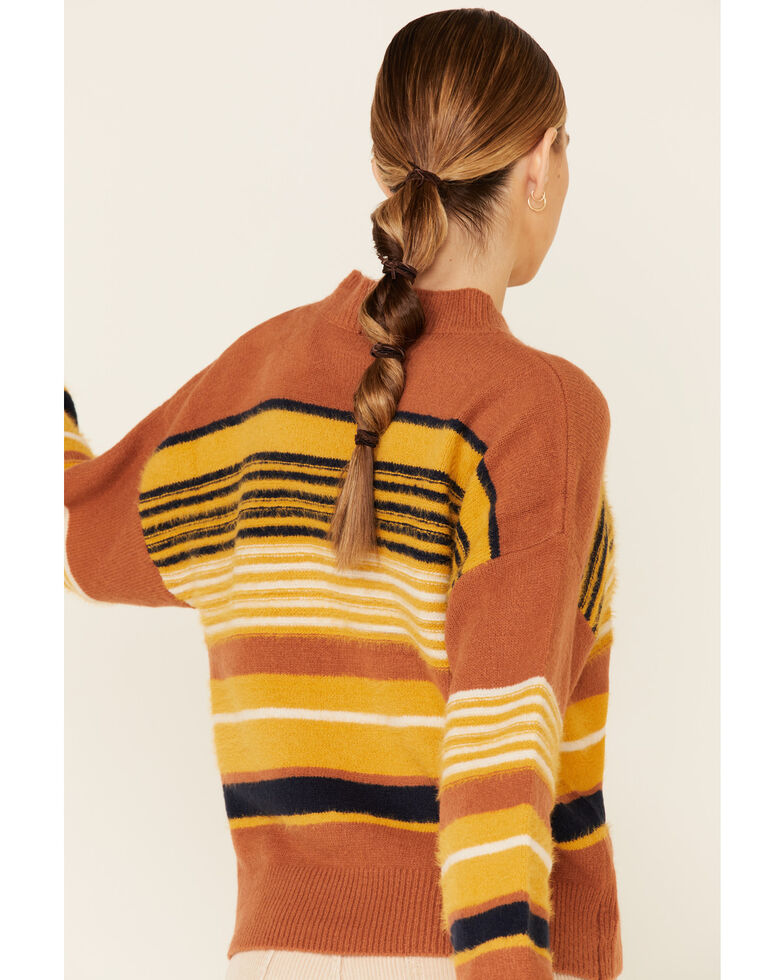 Very J Women's Striped Fuzzy Knit Sweater , Rust Copper, hi-res