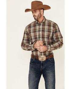 Roper Men's Redwood Plaid Long Sleeve Button-Down Western Shirt , Brown, hi-res