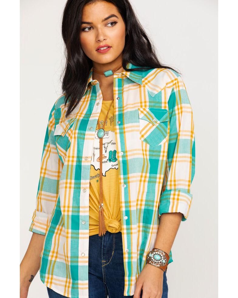 Wrangler Women's Multi Plaid Core Long Sleeve Western Shirt , Dark Yellow, hi-res