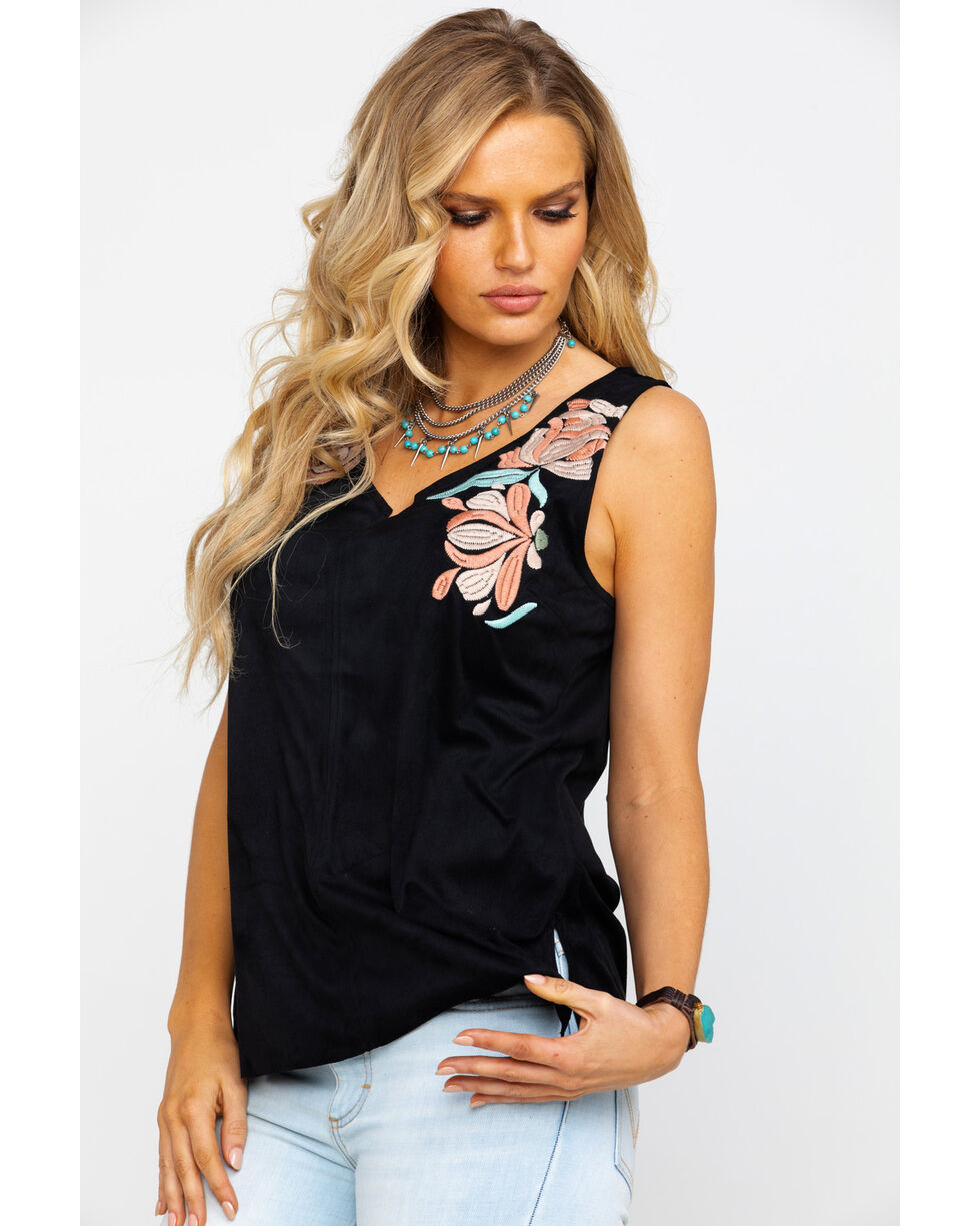 Ariat Women's Faux Suede Floral Embroidered Two Way Tank , Black, hi-res