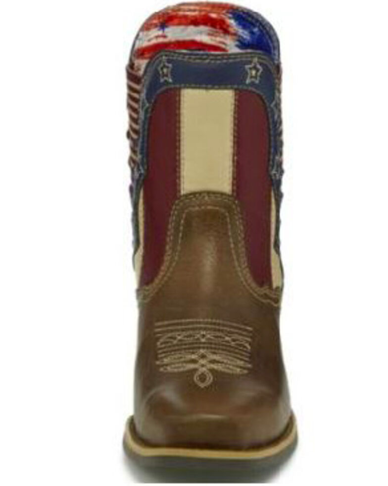 Justin Women's Stars and Stripes Western Boots - Square Toe, Brown, hi-res