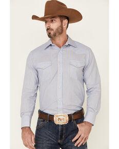 Roper Men's Classic Blue Stripe Long Sleeve Snap Western Shirt , Blue, hi-res
