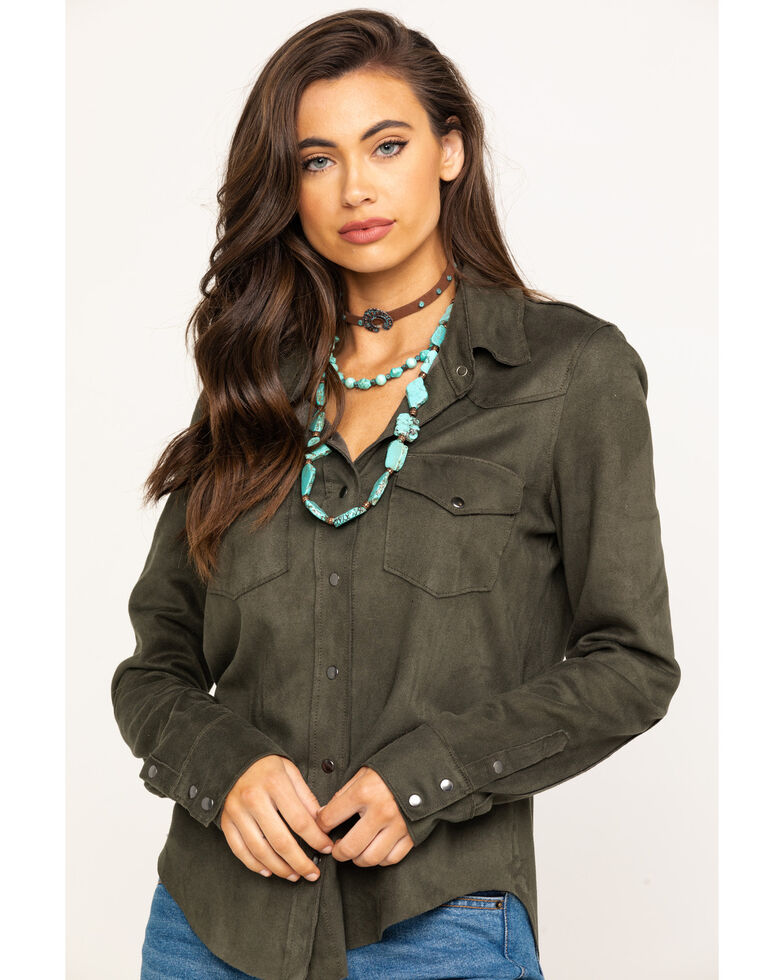 Ariat Women's Olive Serena Long Sleeve Western Shirt, Olive, hi-res