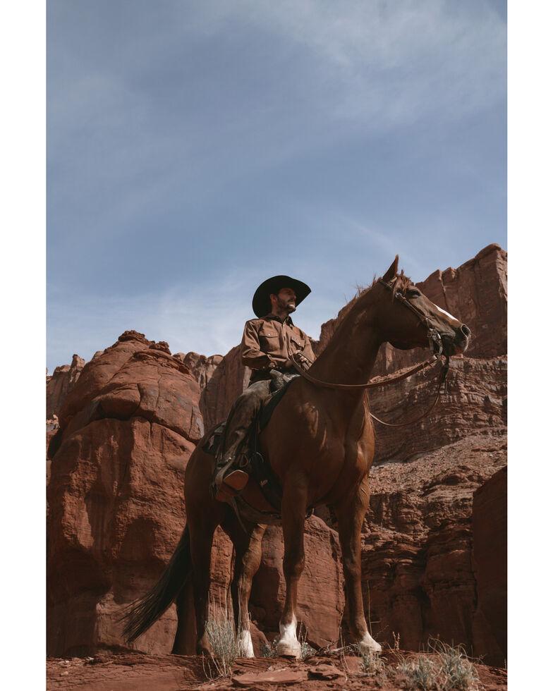 Wrangler Men's Solid Cowboy Cut Firm Finish Long Sleeve Work Shirt, Rawhide, hi-res