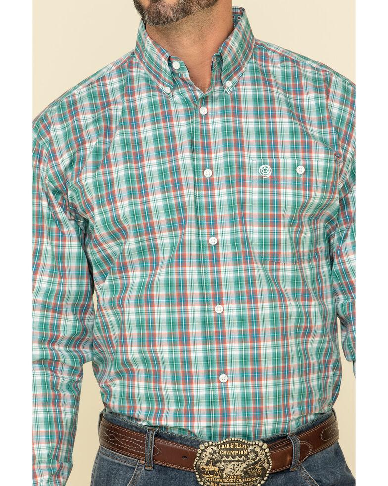 George Strait By Wrangler Men's Teal Med Plaid Long Sleeve Western Shirt , Teal, hi-res