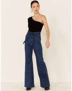 Flying Tomato Women's Self-Tie Sash Flare Jeans, Blue, hi-res