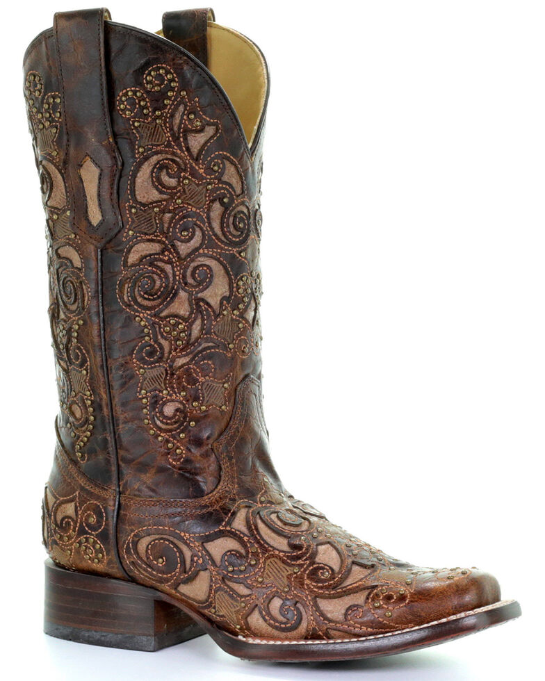 Corral Women's Brown Inlay and Stud Accents Boots - Square Toe , Brown, hi-res