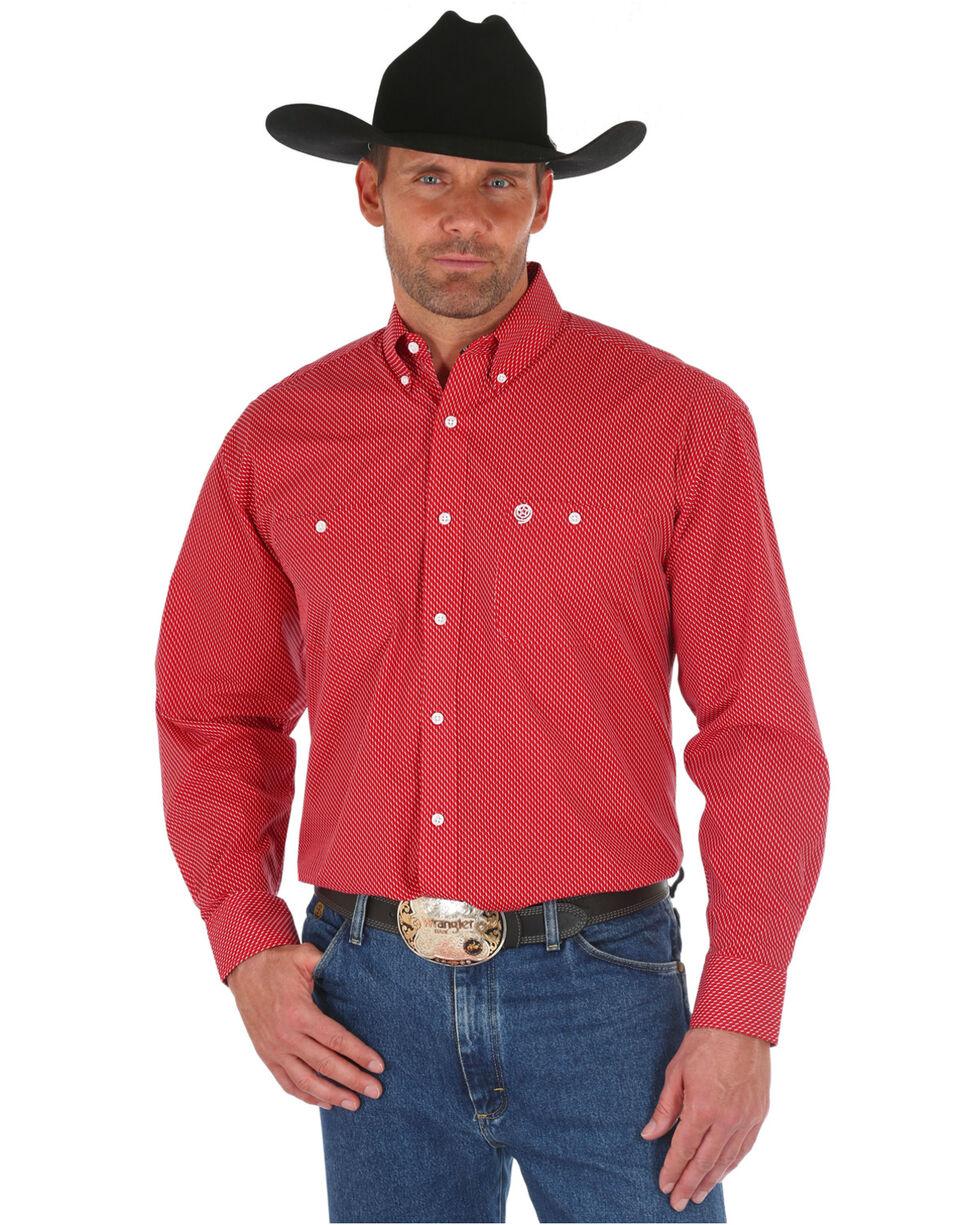 George Strait by Wrangler Men's Red Print Long Sleeve Western Shirt, Red, hi-res