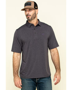 Cinch Men's Arena Flex Heather Grey Striped Short Sleeve Polo Shirt , Heather Grey, hi-res