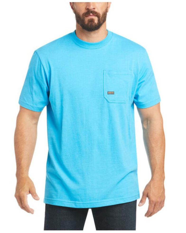 Ariat Men's Heather Turquoise Rebar Cotton Strong American Raptor Graphic Work T-Shirt - Big , Turquoise, hi-res