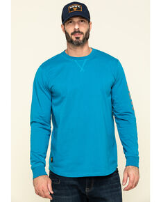 Hawx Men's Teal Sleeve Logo Long Sleeve Work T-Shirt - Tall , Teal, hi-res