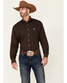 Cinch Men's Solid Brown Button-Down Long Sleeve Western Shirt , Brown, hi-res