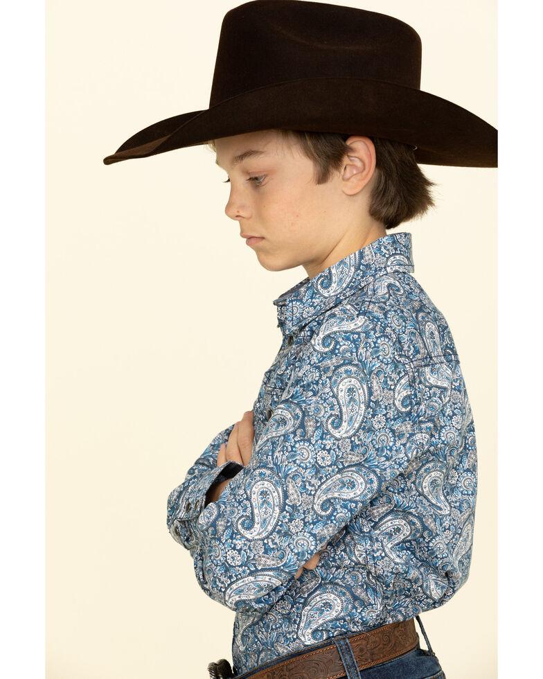 Cody James Boys' Paisley Lake Long Sleeve Western Shirt , Blue, hi-res