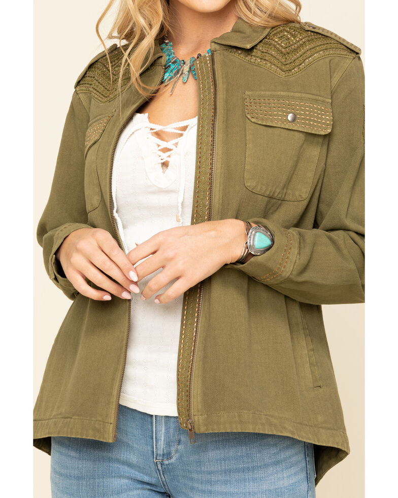 Idyllwind Women's Military Embroidered Jacket , Olive, hi-res