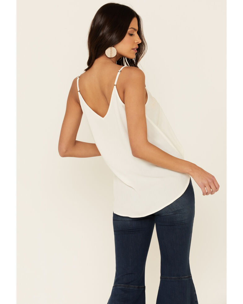 Eyeshadow Women's Ivory Embroidered V-Neck Cami Tank Top , Ivory, hi-res