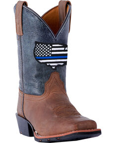 Dan Post Boys' Sand Thin Blue Line Leather Boots - Square Toe , Sand, hi-res