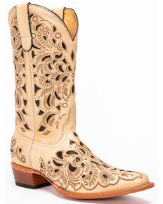 Shyanne Women's Sarah Laser Cutout Western Boots - Snip Toe, Natural, hi-res