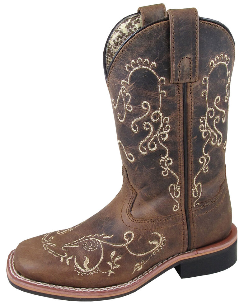 Smoky Mountain Girls' Marilyn Western Boots - Square Toe, Brown, hi-res