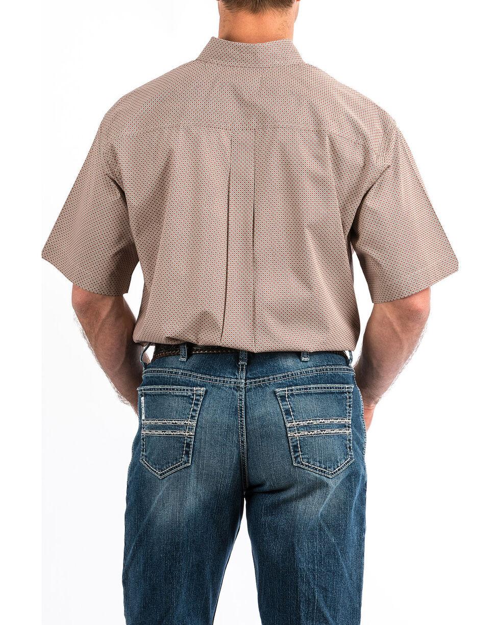 Cinch Men's Grey Geo Print Button Short Sleeve Western Shirt , Heather Grey, hi-res