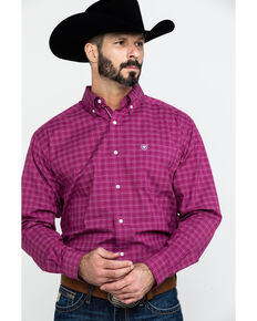 Ariat Men's Atticus Stretch Plaid Long Sleeve Western Shirt - Big , Burgundy, hi-res