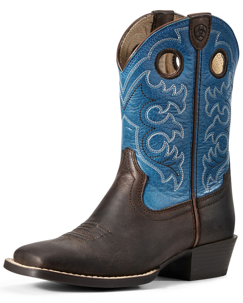 Ariat Youth Boys' Roughstock Crossfire Western Boots - Wide Square Toe, Brown, hi-res