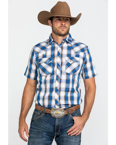 Wrangler Men's Blue Plaid Fashion Snap Short Sleeve Western Shirt , Blue, hi-res
