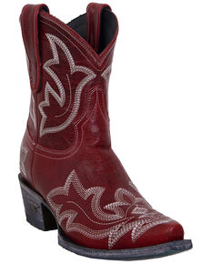 Lane Women's Saratoga Western Booties - Snip Toe, Red, hi-res
