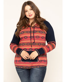 White Label by Panhandle Women's Aztec Color-Block Hoodie - Plus, Multi, hi-res