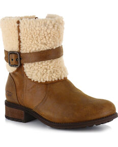 UGG Womens Brown Blayre II Short Boots - Round Toe , Brown, hi-res