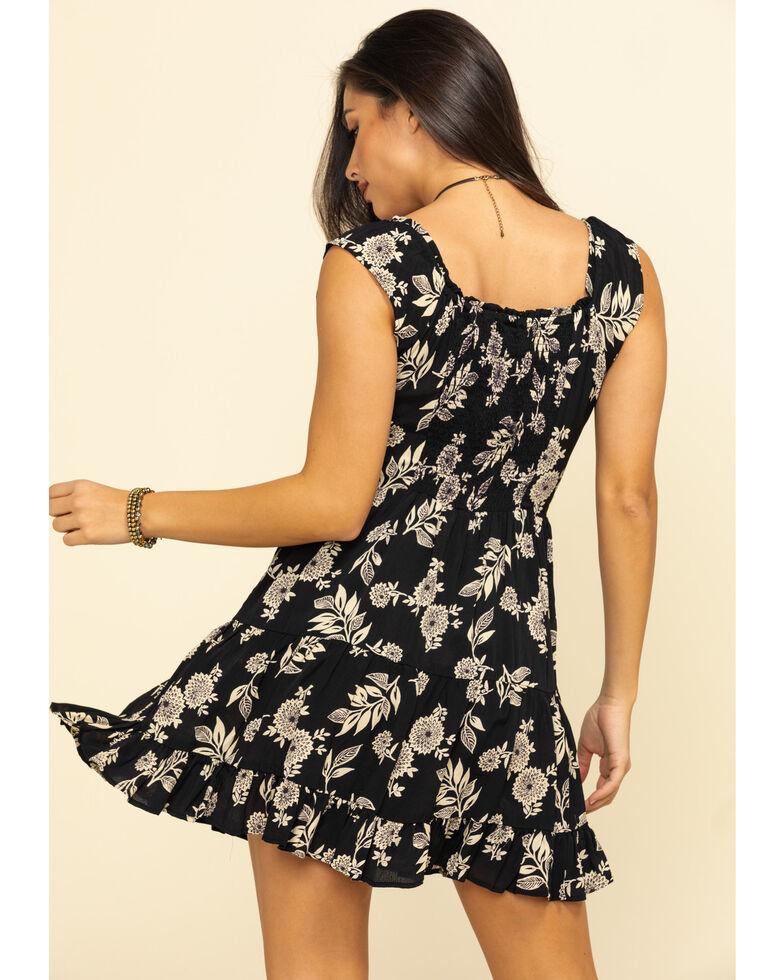 Angie Women's Black Button Front Crochet Dress  , Black, hi-res
