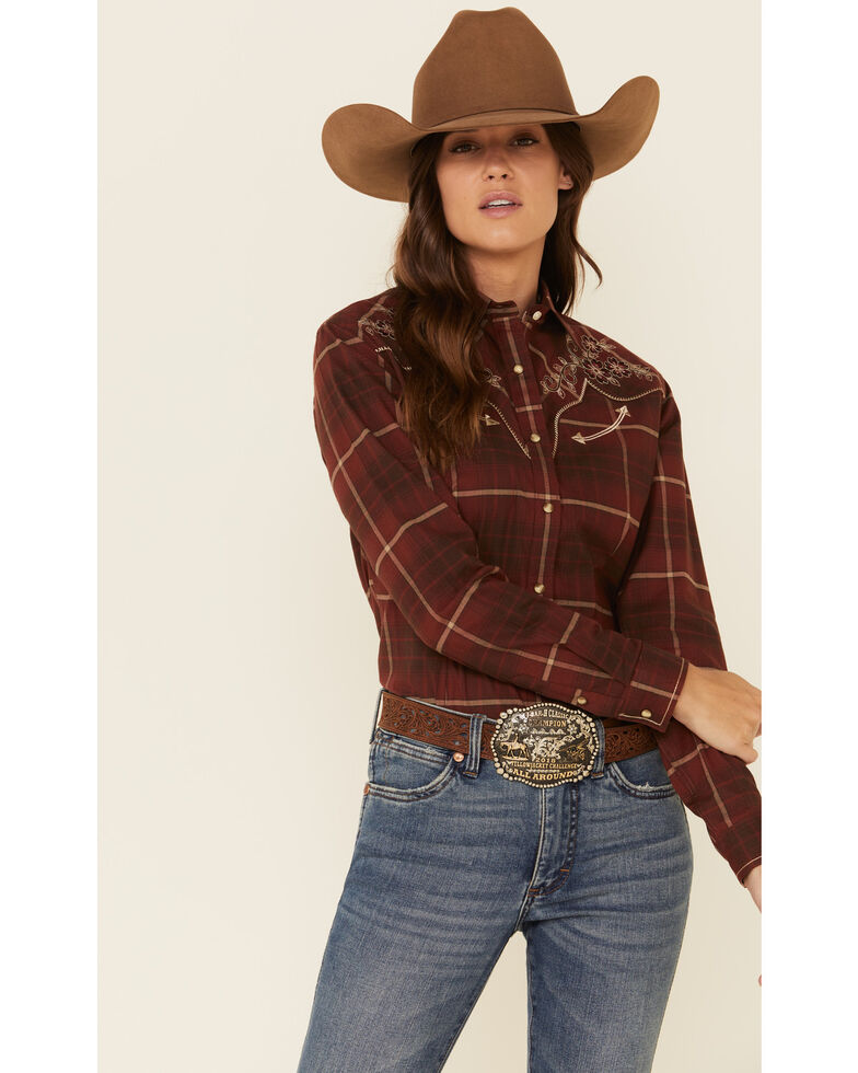 Panhandle Women's Plaid Floral Embroidered Yoke Long Sleeve Western Shirt, Burgundy, hi-res