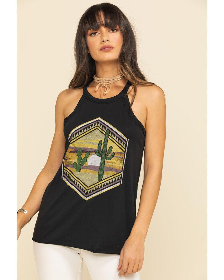 Rock & Roll Denim Women's Cactus Geo Graphic Tank Top, Black, hi-res