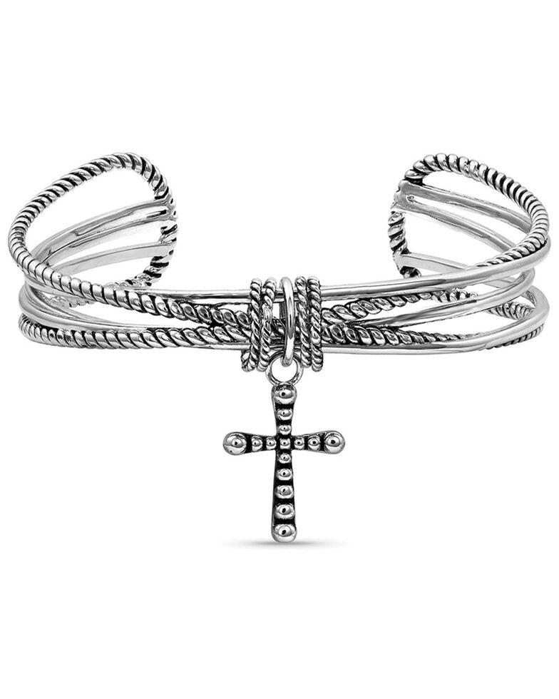 Montana Silversmiths Women's Faith On A Loop Cross Bracelet, Silver, hi-res