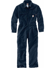 Carhartt Men's Flame-Resistant Deluxe Coveralls - Big & Tall, Navy, hi-res