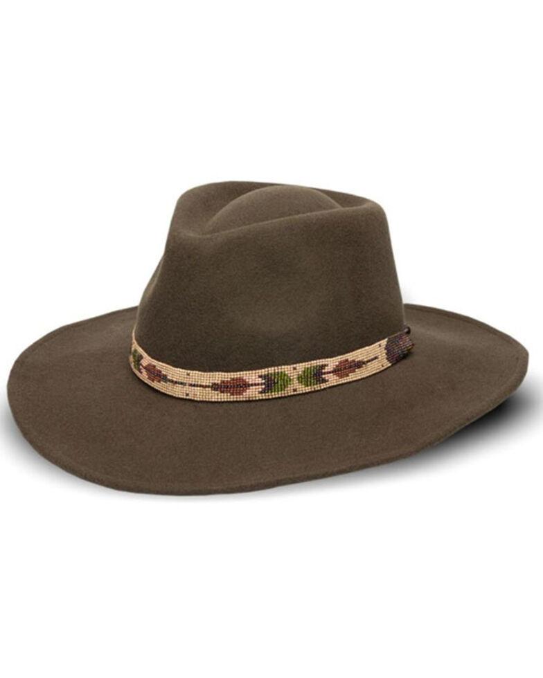 Nikki Beach Women's Black Two Feathers Western Felt Rancher Hat , Moss Green, hi-res