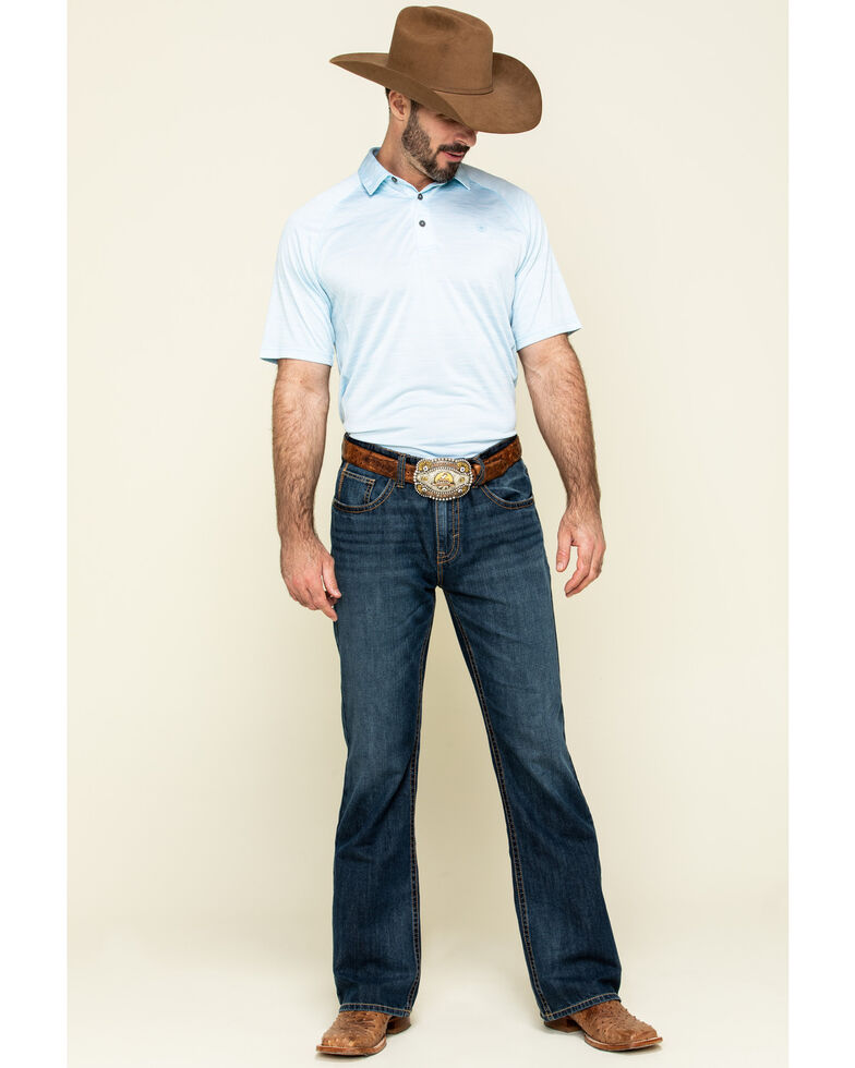 Ariat Men's Crystal Blue Charger Short Sleeve Polo Shirt , Blue, hi-res