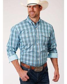 Roper Men's Amarillo Oasis Cold Creek Plaid Long Sleeve Western Shirt, Blue, hi-res
