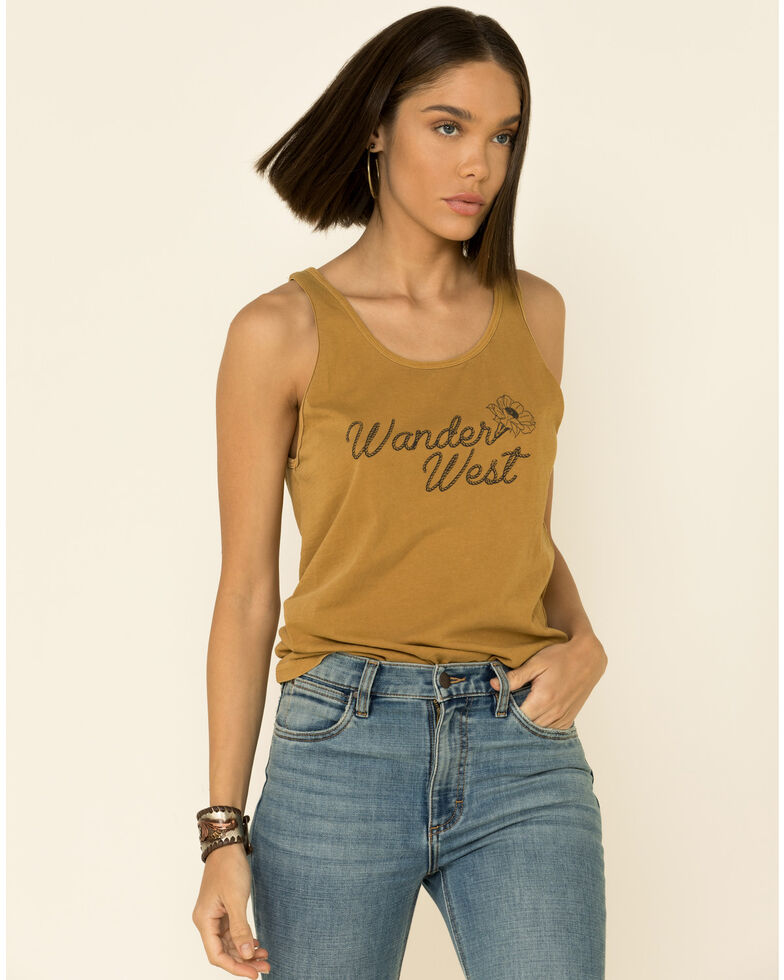 Wondery Women's Wander West Muscle Tank Top, Mustard, hi-res