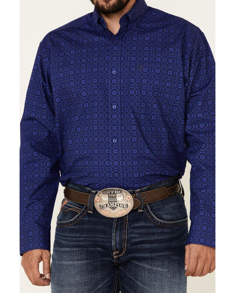 Ariat Men's Paolo Geo Print Long Sleeve Western Shirt , Dark Blue, hi-res