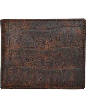 3D Men's Cognac Croc Embossed Bi-Fold Wallet, Cognac, hi-res