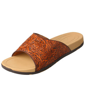 Twisted X Women's Tooled Sandals, Tan, hi-res