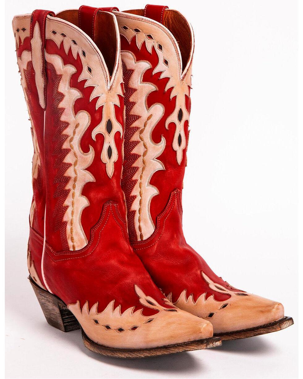 Dan Post Women's Mae Western Boots - Snip Toe, Red, hi-res