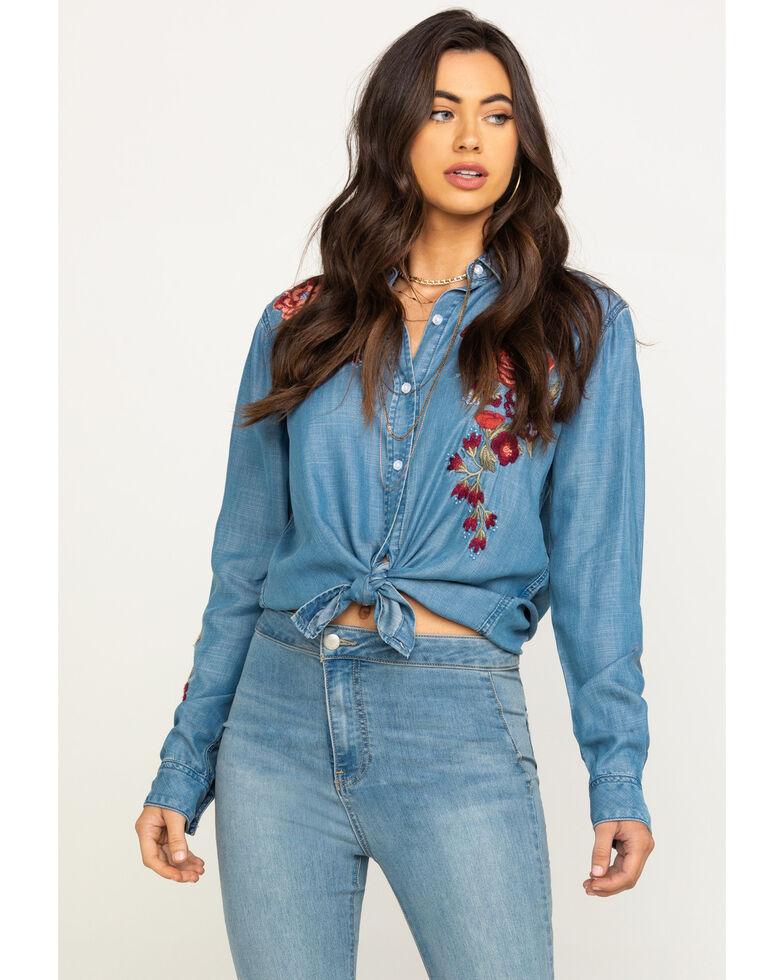 Stetson Women's Denim Rose Embroidered Button Shirt, Blue, hi-res