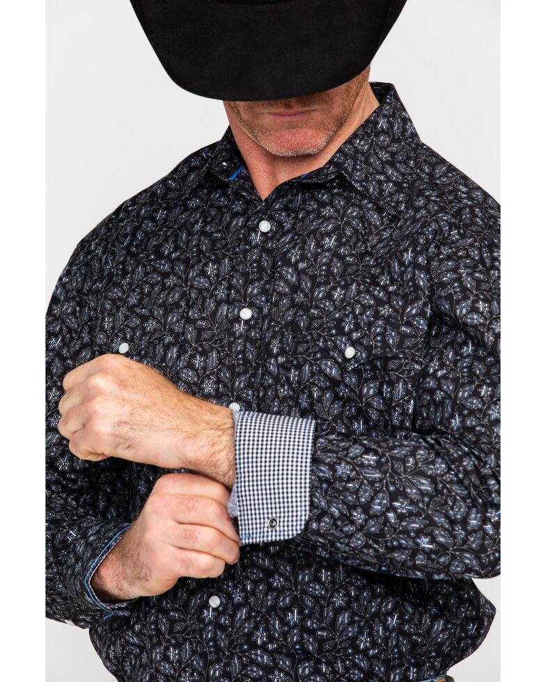 Panhandle Men's Chinati Vintage Print Long Sleeve Western Shirt , Black, hi-res