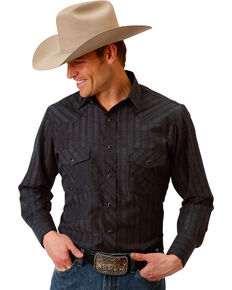 Roper Men's Black Western Tone On Tone Snap Shirt , Black, hi-res