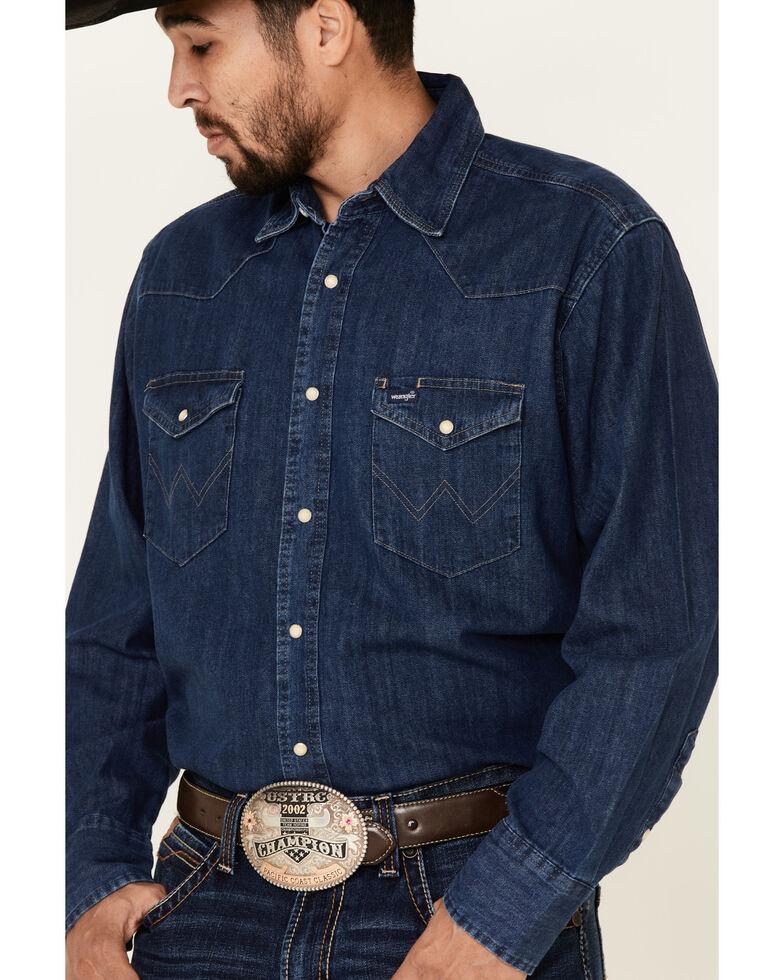 Wrangler Men's Dark Denim Solid Long Sleeve Western Shirt - Tall , Dark Blue, hi-res