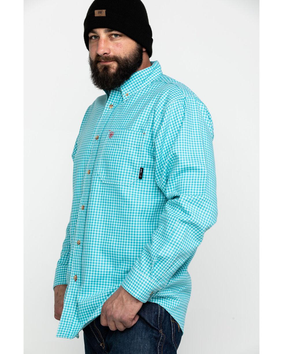 Ariat Men's FR Brent Check Plaid Long Sleeve Work Shirt , Blue, hi-res