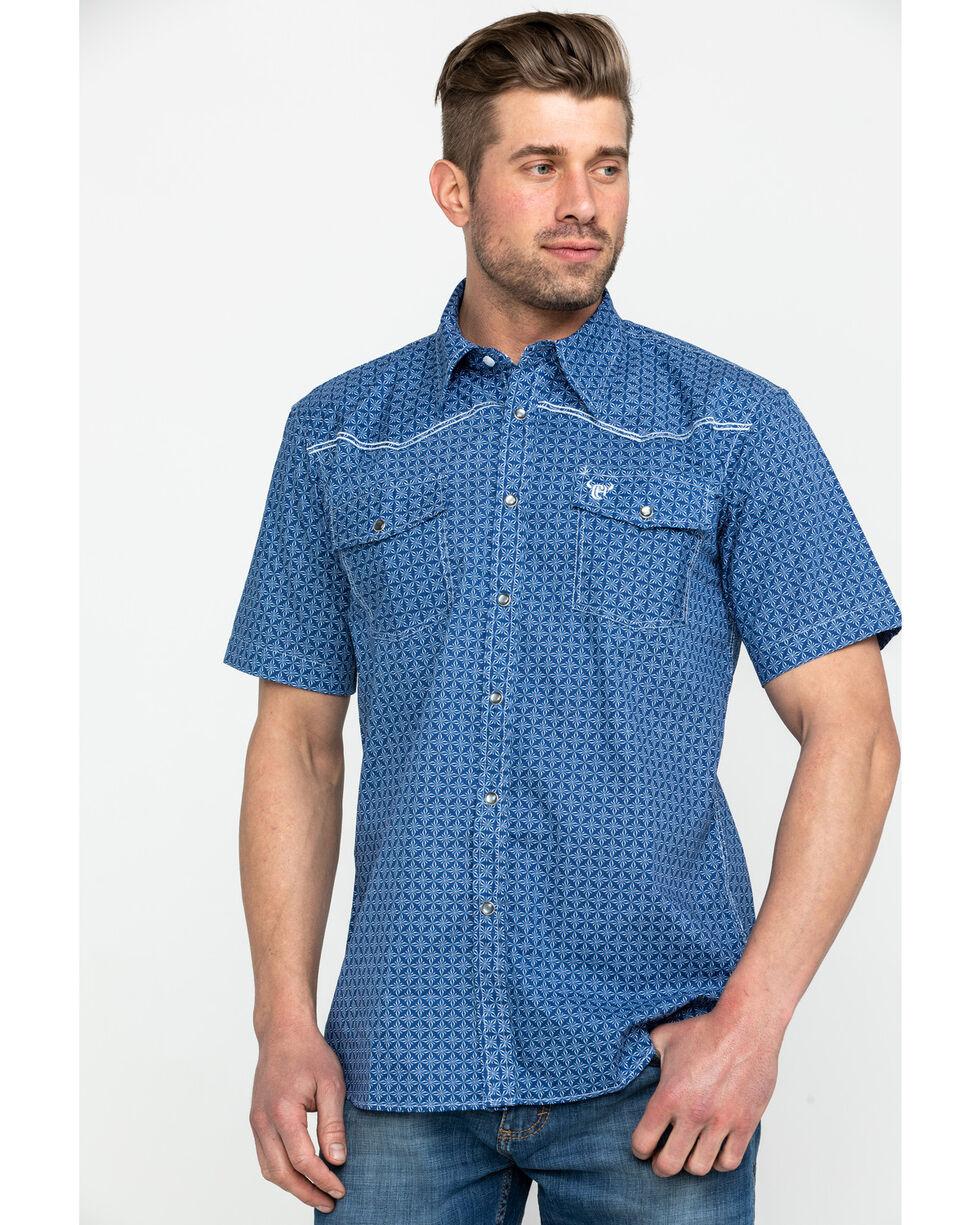 Cowboy Hardware Men's Snowflake Diamond Print Short Sleeve Western Shirt , Navy, hi-res
