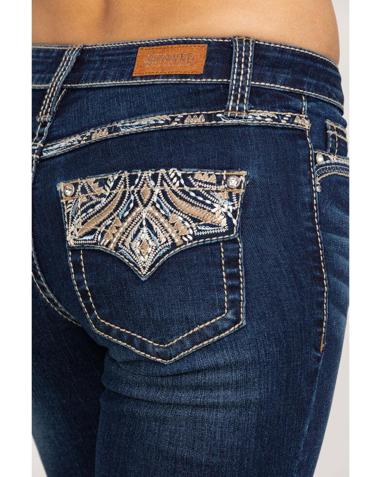 Shyanne Women's Dark Wash Faux Flap Bling Bootcut Jeans, Blue, hi-res